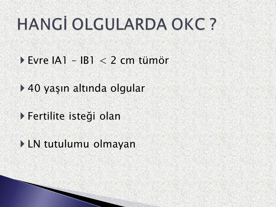 HANGİ OLGULARDA OKC Evre IA1 – IB1 < 2 cm tümör