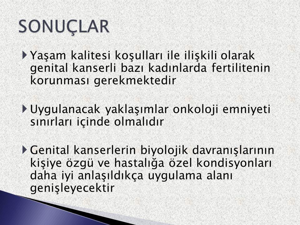 SONUÇLAR Yaşam kalitesi koşulları ile ilişkili olarak genital kanserli bazı kadınlarda fertilitenin korunması gerekmektedir.