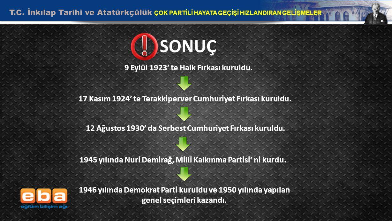 ! SONUÇ 9 Eylül 1923' te Halk Fırkası kuruldu.
