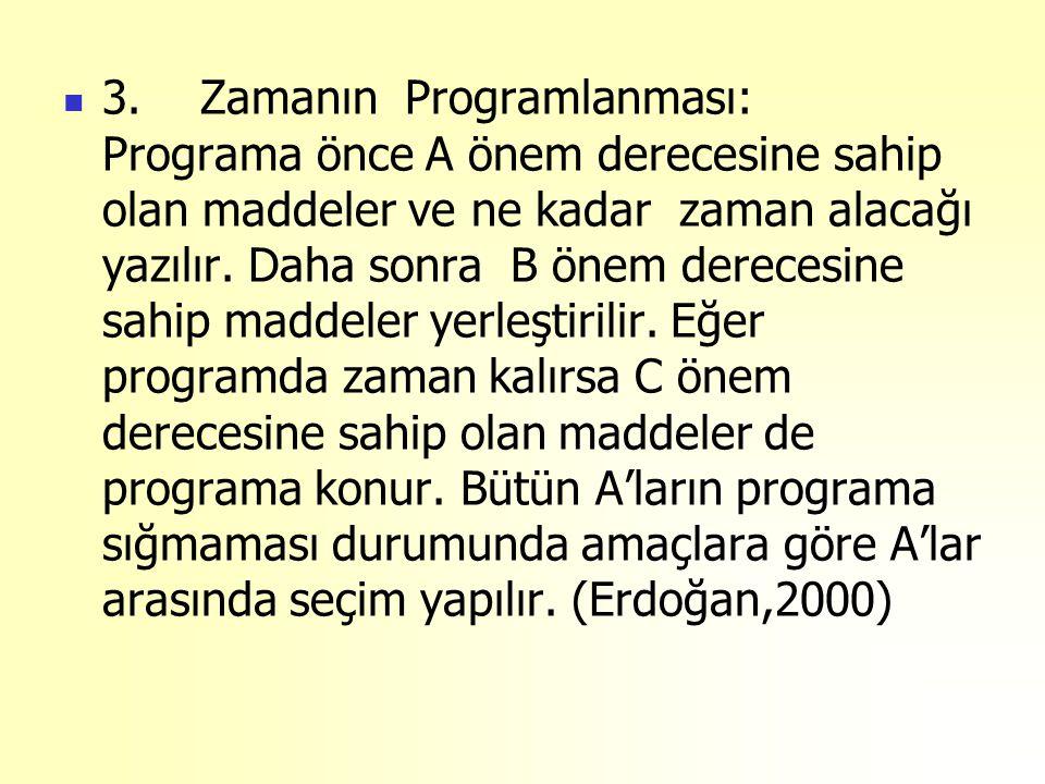 3. Zamanın Programlanması: Programa önce A önem derecesine sahip olan maddeler ve ne kadar zaman alacağı yazılır.