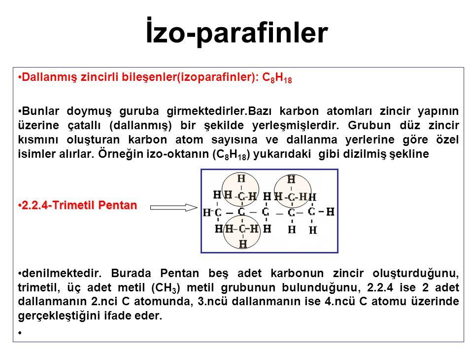 İzo-parafinler Dallanmış zincirli bileşenler(izoparafinler): C8H18