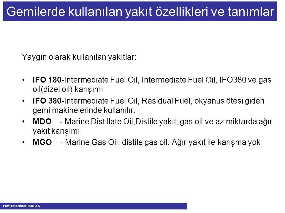 Gemilerde kullanılan yakıt özellikleri ve tanımlar
