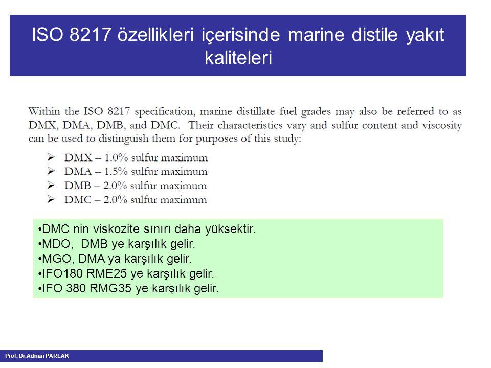 ISO 8217 özellikleri içerisinde marine distile yakıt kaliteleri