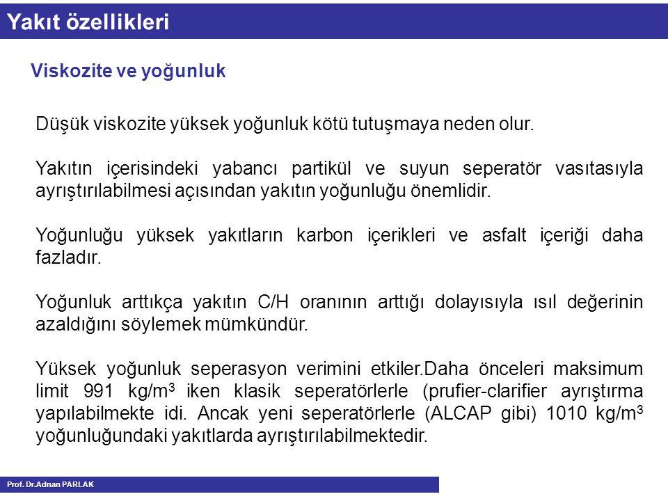 Yakıt özellikleri Viskozite ve yoğunluk