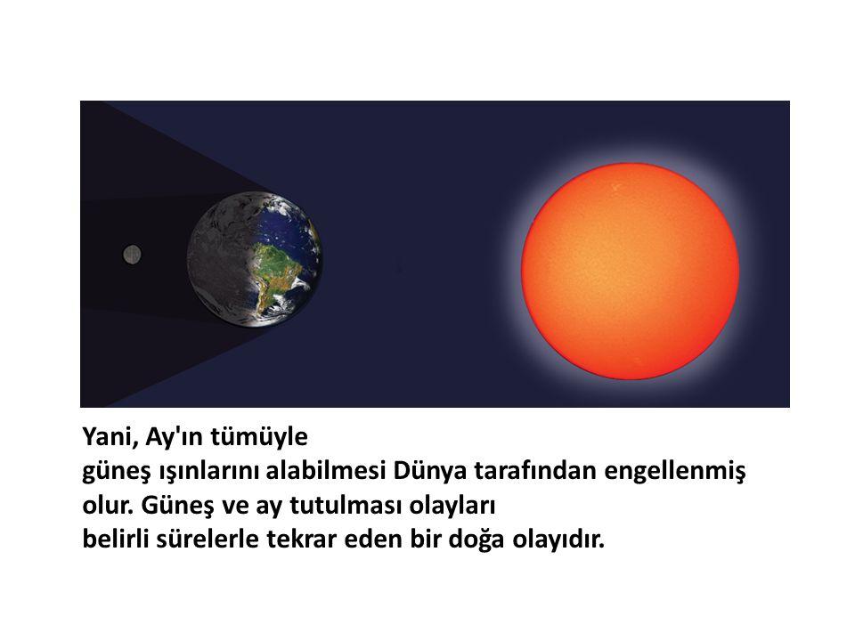 Yani, Ay ın tümüyle güneş ışınlarını alabilmesi Dünya tarafından engellenmiş olur. Güneş ve ay tutulması olayları.