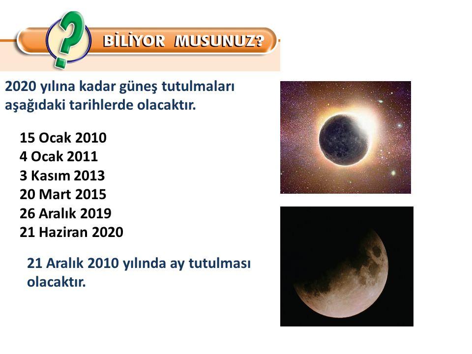 2020 yılına kadar güneş tutulmaları aşağıdaki tarihlerde olacaktır.