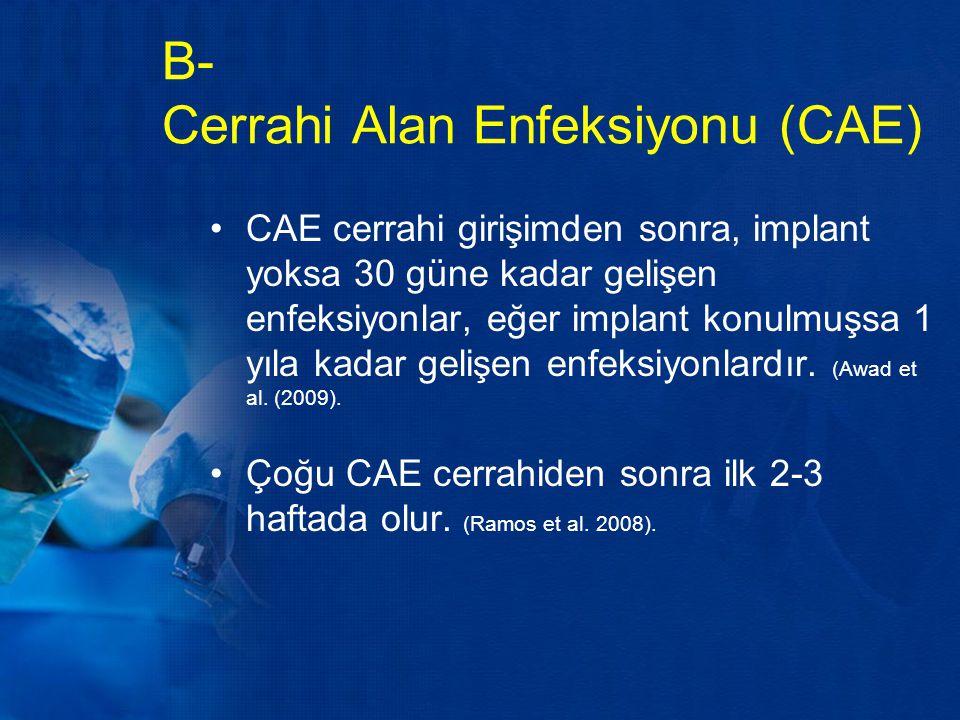 B- Cerrahi Alan Enfeksiyonu (CAE)