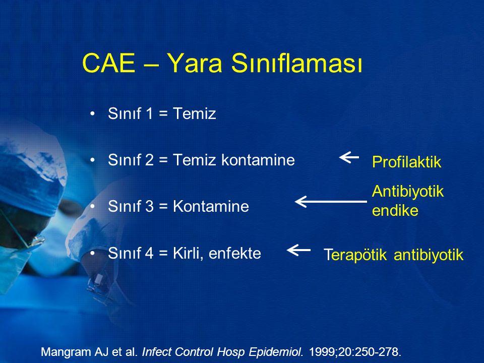 CAE – Yara Sınıflaması Sınıf 1 = Temiz Sınıf 2 = Temiz kontamine
