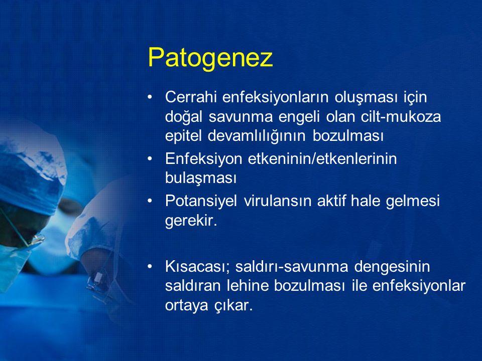 Patogenez Cerrahi enfeksiyonların oluşması için doğal savunma engeli olan cilt-mukoza epitel devamlılığının bozulması.
