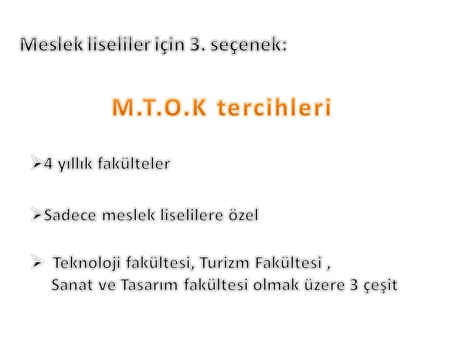 M.T.O.K tercihleri Meslek liseliler için 3. seçenek: