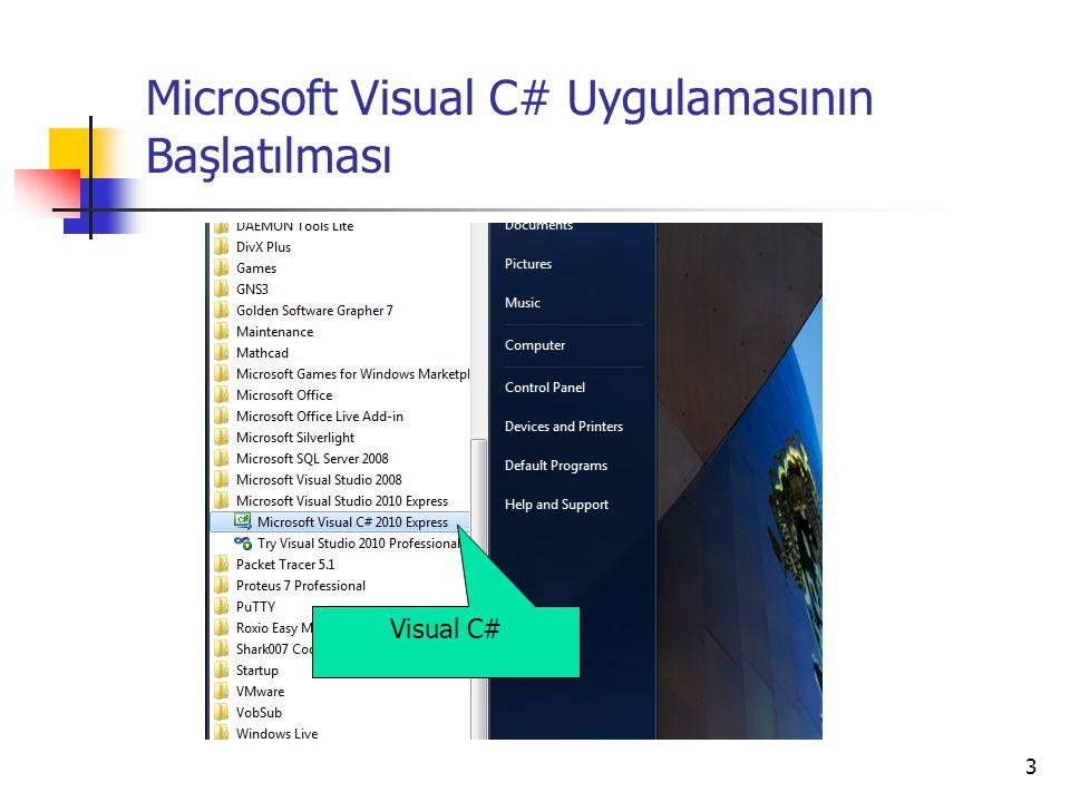 Microsoft Visual C# Uygulamasının Başlatılması
