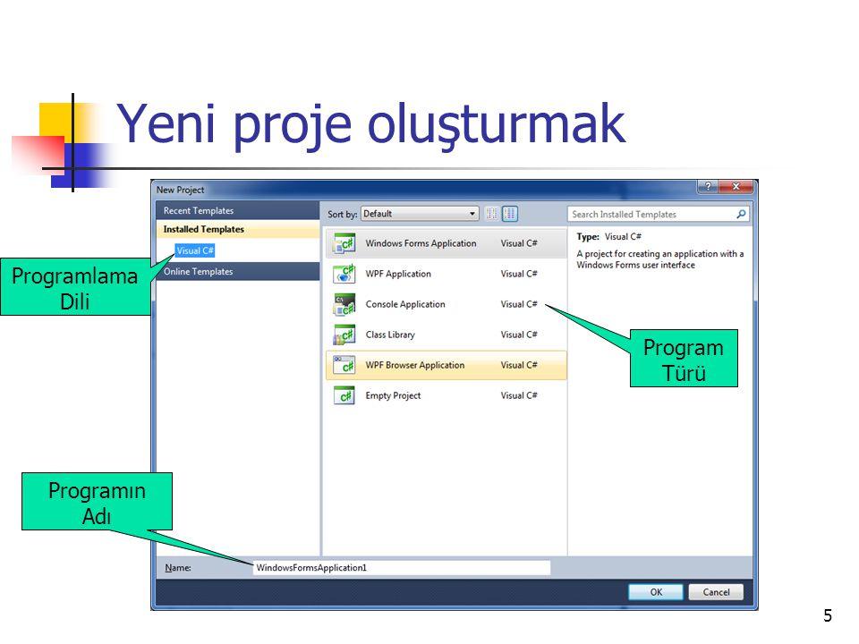 Yeni proje oluşturmak Programlama Dili Program Türü Programın Adı