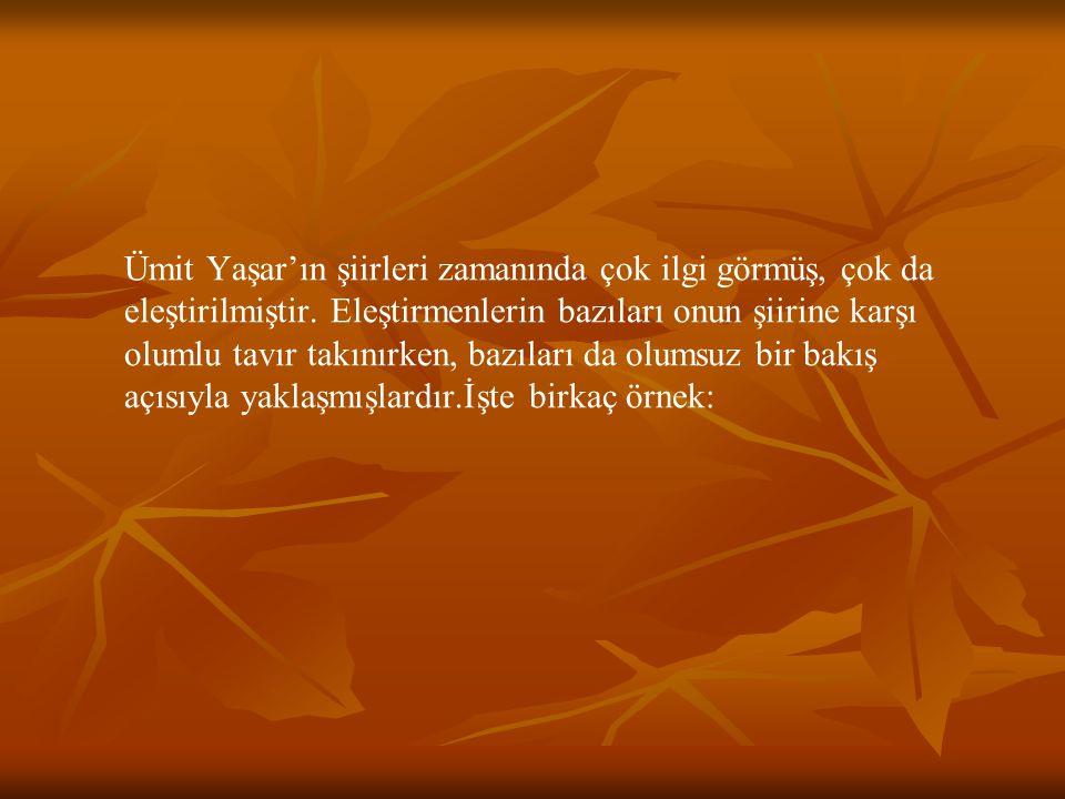 Ümit Yaşar'ın şiirleri zamanında çok ilgi görmüş, çok da eleştirilmiştir.