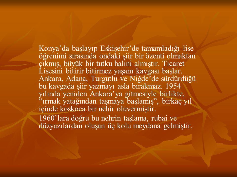 Konya'da başlayıp Eskişehir'de tamamladığı lise öğrenimi sırasında ondaki şiir bir özenti olmaktan çıkmış, büyük bir tutku halini almıştır. Ticaret Lisesini bitirir bitirmez yaşam kavgası başlar. Ankara, Adana, Turgutlu ve Niğde'de sürdürdüğü bu kavgada şiir yazmayı asla bırakmaz. 1954 yılında yeniden Ankara'ya gitmesiyle birlikte, ırmak yatağından taşmaya başlamış , birkaç yıl içinde koskoca bir nehir oluvermiştir.