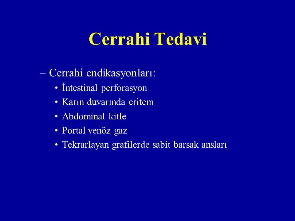 Cerrahi Tedavi Cerrahi endikasyonları: İntestinal perforasyon