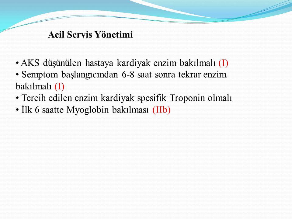 Acil Servis Yönetimi • AKS düşünülen hastaya kardiyak enzim bakılmalı (I) • Semptom başlangıcından 6-8 saat sonra tekrar enzim.