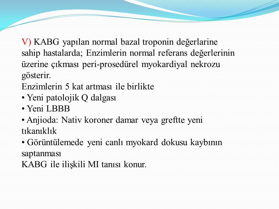 V) KABG yapılan normal bazal troponin değerlarine
