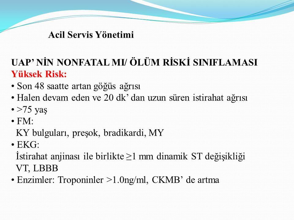 Acil Servis Yönetimi UAP' NİN NONFATAL MI/ ÖLÜM RİSKİ SINIFLAMASI. Yüksek Risk: • Son 48 saatte artan göğüs ağrısı.