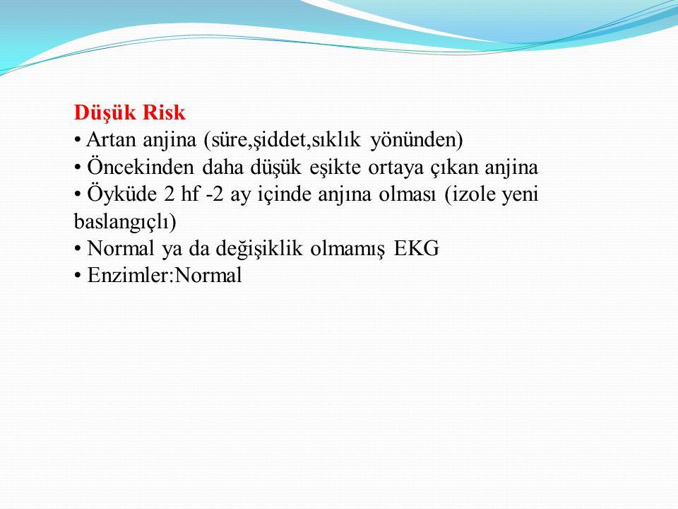 Düşük Risk • Artan anjina (süre,şiddet,sıklık yönünden) • Öncekinden daha düşük eşikte ortaya çıkan anjina.