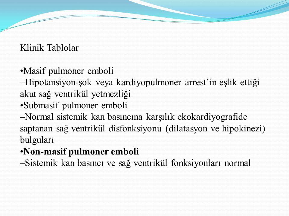 Klinik Tablolar •Masif pulmoner emboli. –Hipotansiyon-şok veya kardiyopulmoner arrest'in eşlik ettiği akut sağ ventrikül yetmezliği.