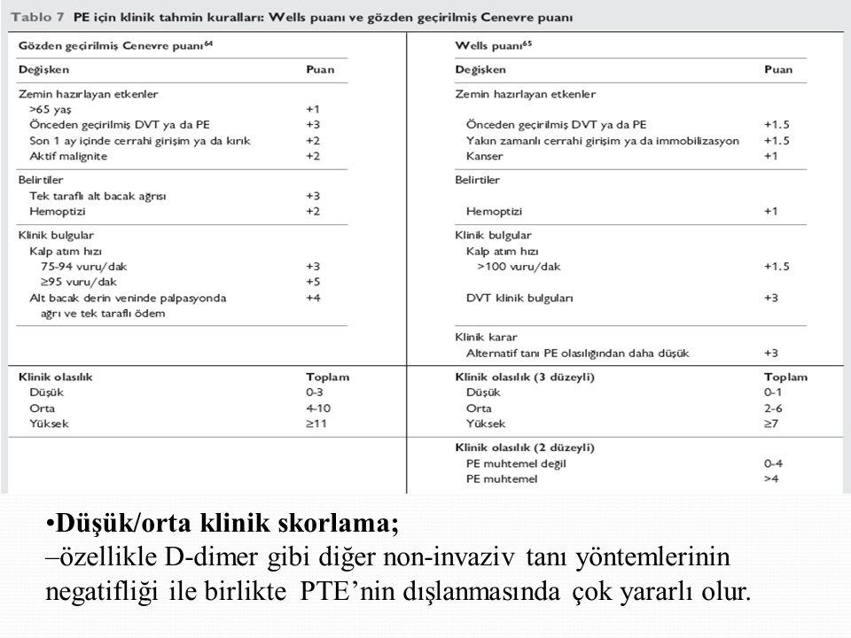 Klinik skorlama •Düşük/orta klinik skorlama;