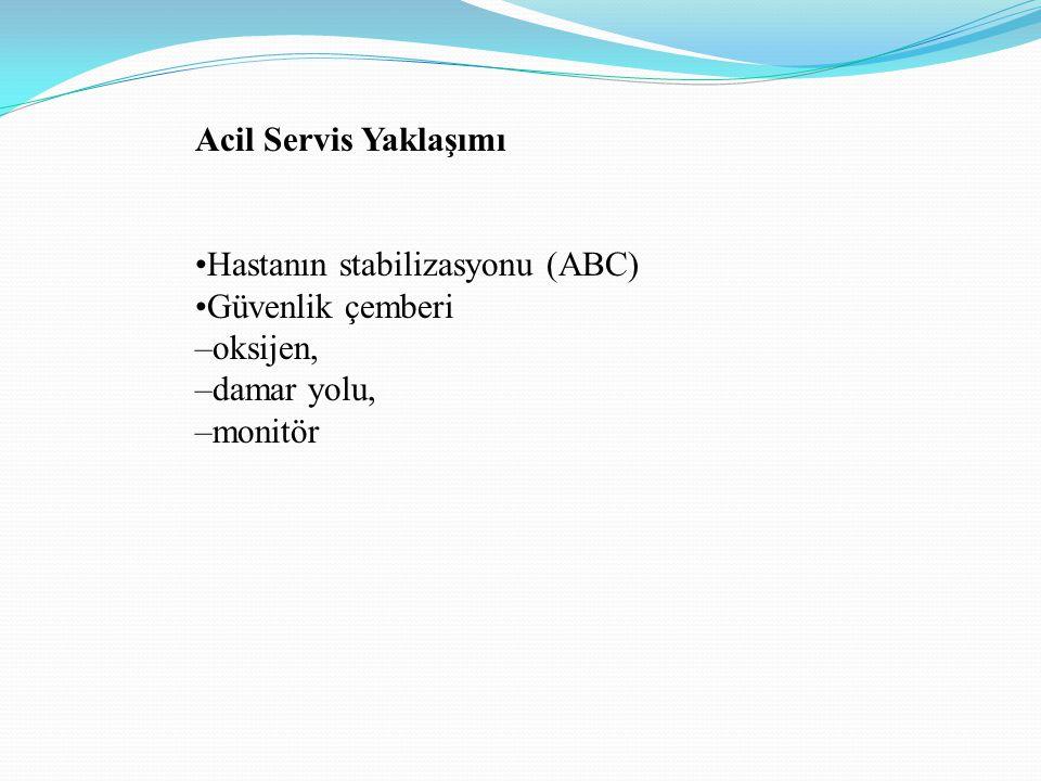 Acil Servis Yaklaşımı •Hastanın stabilizasyonu (ABC) •Güvenlik çemberi.