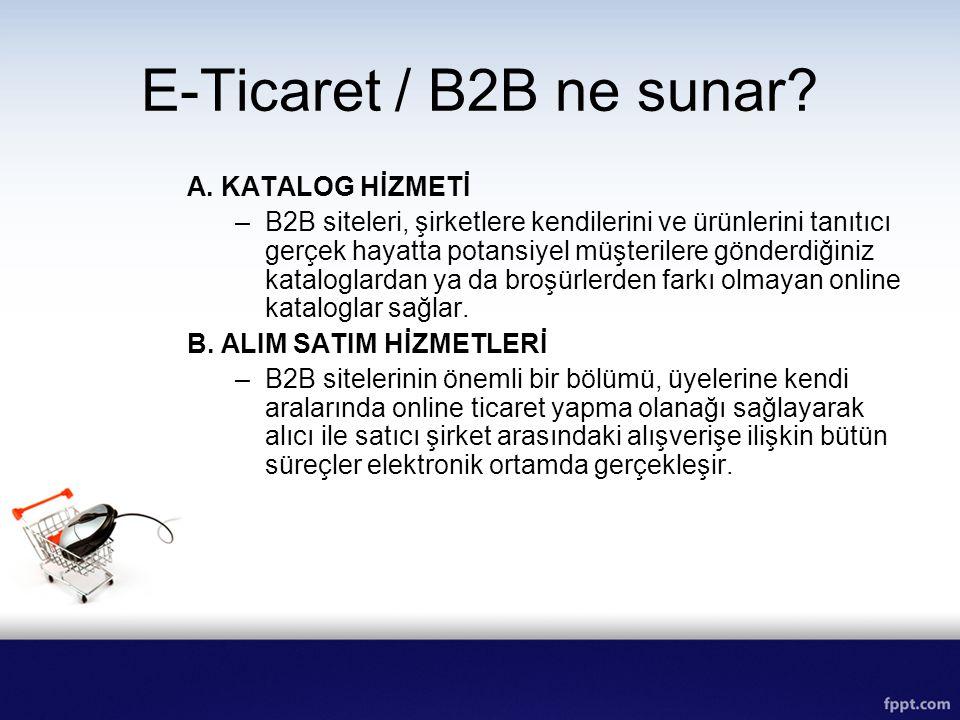 E-Ticaret / B2B ne sunar A. KATALOG HİZMETİ