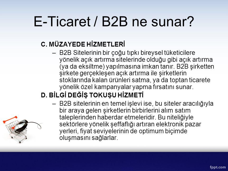 E-Ticaret / B2B ne sunar C. MÜZAYEDE HİZMETLERİ