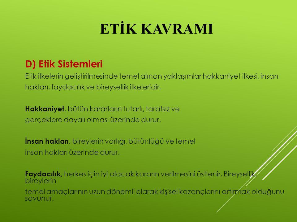 ETİK KAVRAMI D) Etik Sistemleri