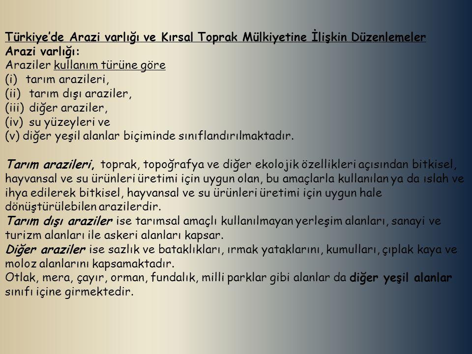Türkiye'de Arazi varlığı ve Kırsal Toprak Mülkiyetine İlişkin Düzenlemeler