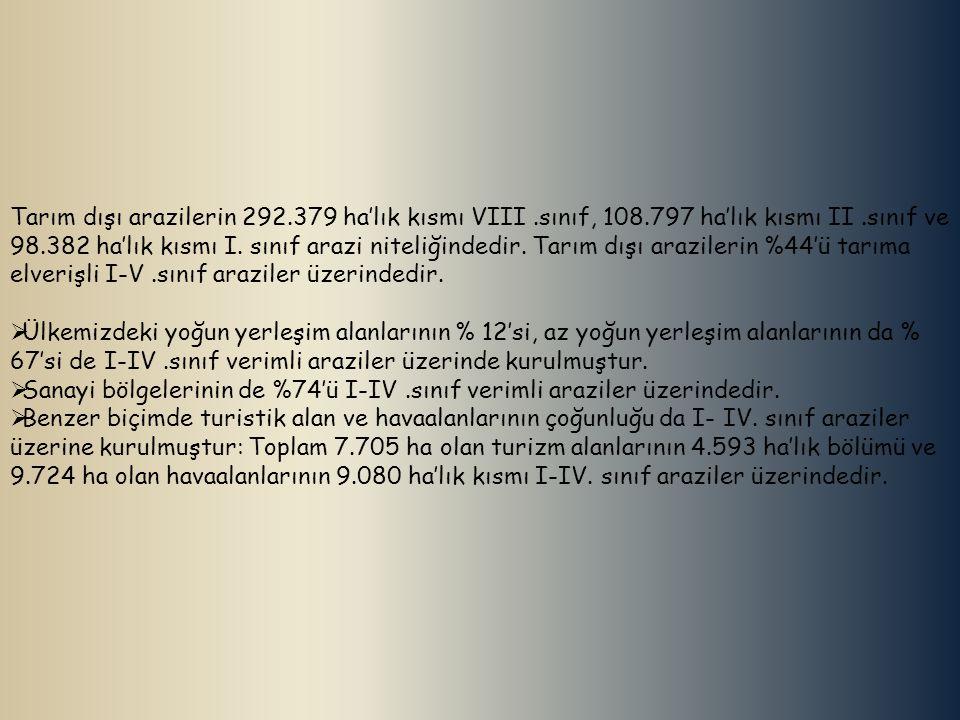 Tarım dışı arazilerin 292. 379 ha'lık kısmı VIII. sınıf, 108