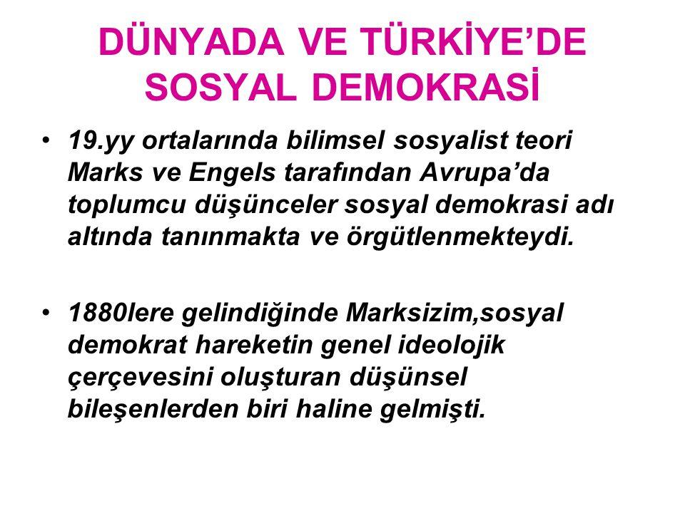 DÜNYADA VE TÜRKİYE'DE SOSYAL DEMOKRASİ