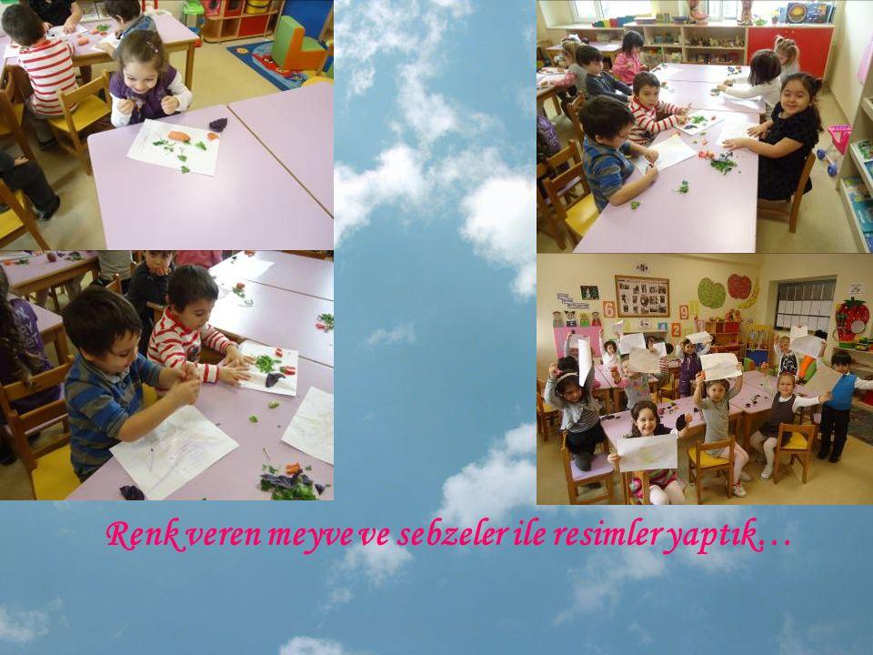 Renk veren meyve ve sebzeler ile resimler yaptık…