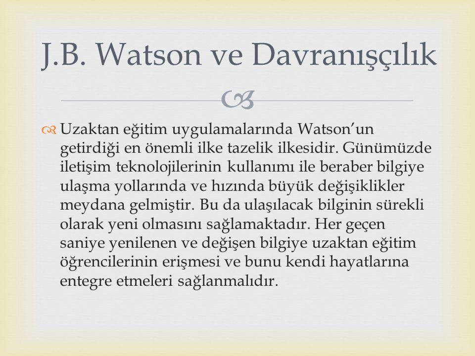J.B. Watson ve Davranışçılık