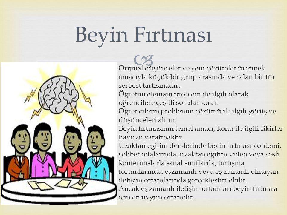 Beyin Fırtınası Orijinal düşünceler ve yeni çözümler üretmek amacıyla küçük bir grup arasında yer alan bir tür serbest tartışmadır.