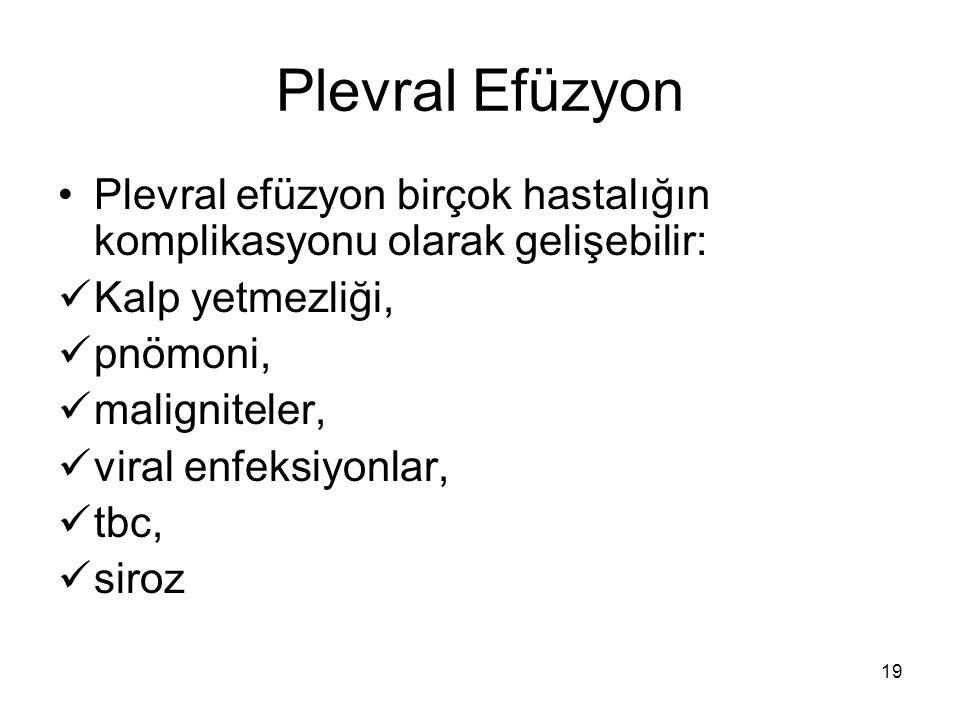 Plevral Efüzyon Plevral efüzyon birçok hastalığın komplikasyonu olarak gelişebilir: Kalp yetmezliği,