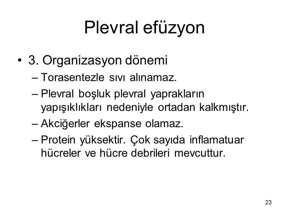 Plevral efüzyon 3. Organizasyon dönemi Torasentezle sıvı alınamaz.