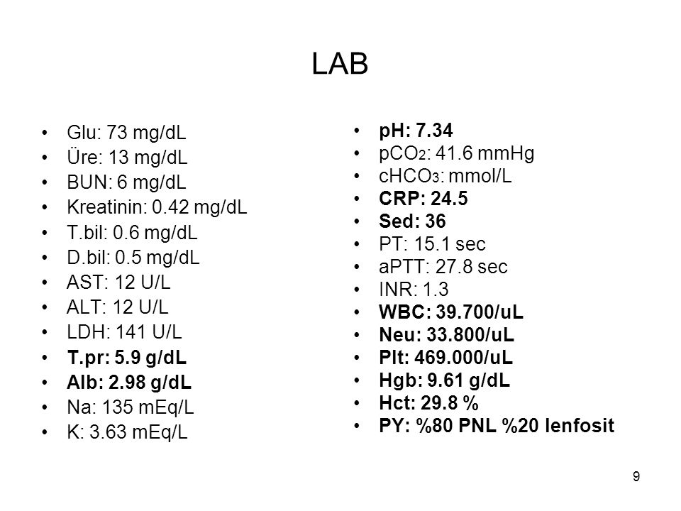 LAB Glu: 73 mg/dL Üre: 13 mg/dL BUN: 6 mg/dL Kreatinin: 0.42 mg/dL