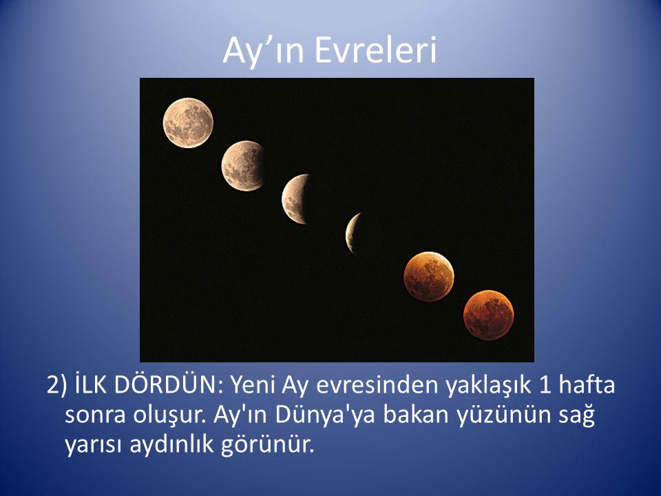 Ay'ın Evreleri 2) İLK DÖRDÜN: Yeni Ay evresinden yaklaşık 1 hafta sonra oluşur.