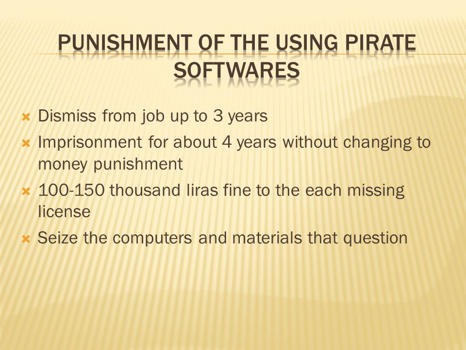Punishment of the Using Pirate Softwares