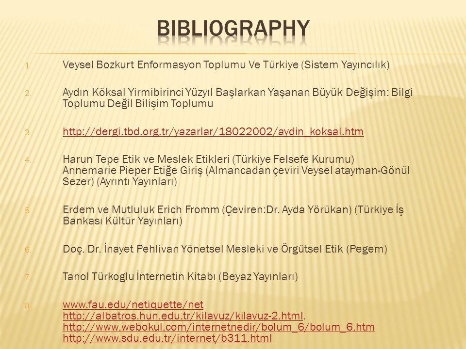 BIBLIOGRAPHY Veysel Bozkurt Enformasyon Toplumu Ve Türkiye (Sistem Yayıncılık)
