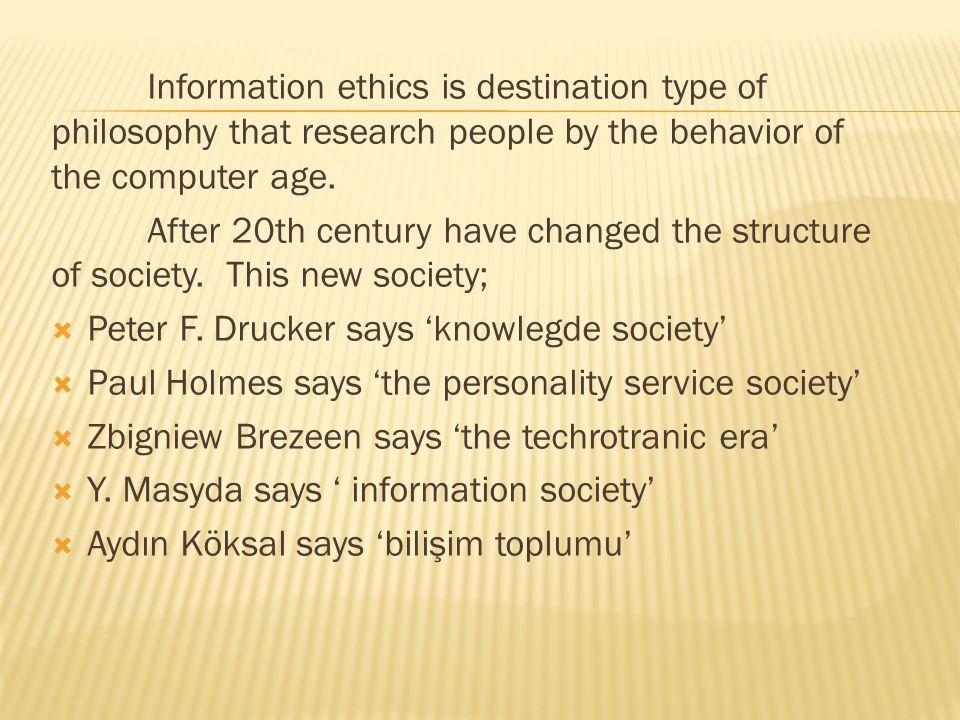 Information ethics is destination type of philosophy that research people by the behavior of the computer age.
