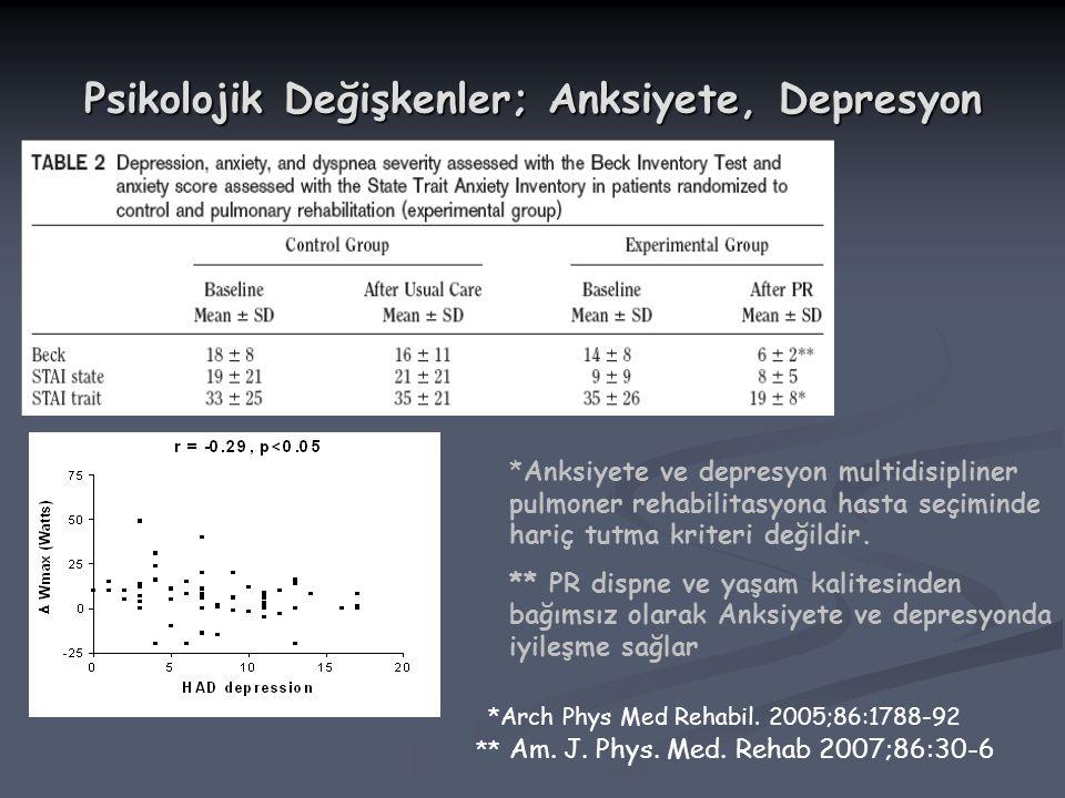 Psikolojik Değişkenler; Anksiyete, Depresyon