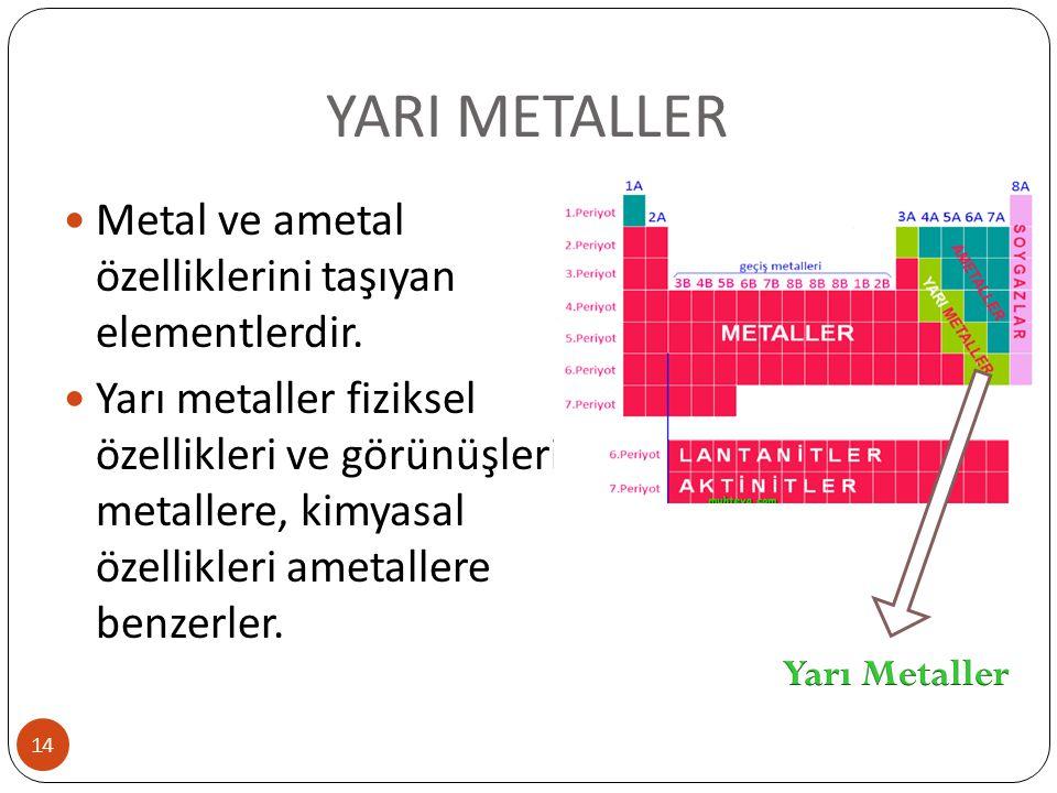 YARI METALLER Metal ve ametal özelliklerini taşıyan elementlerdir.