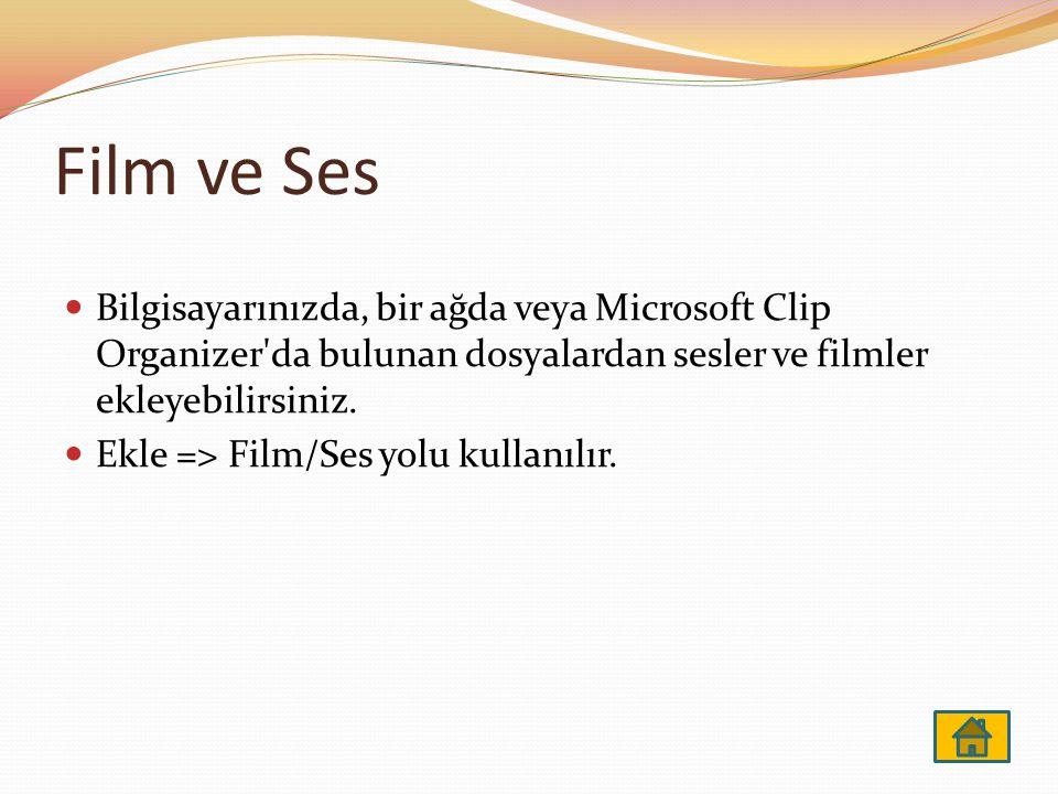 Film ve Ses Bilgisayarınızda, bir ağda veya Microsoft Clip Organizer da bulunan dosyalardan sesler ve filmler ekleyebilirsiniz.
