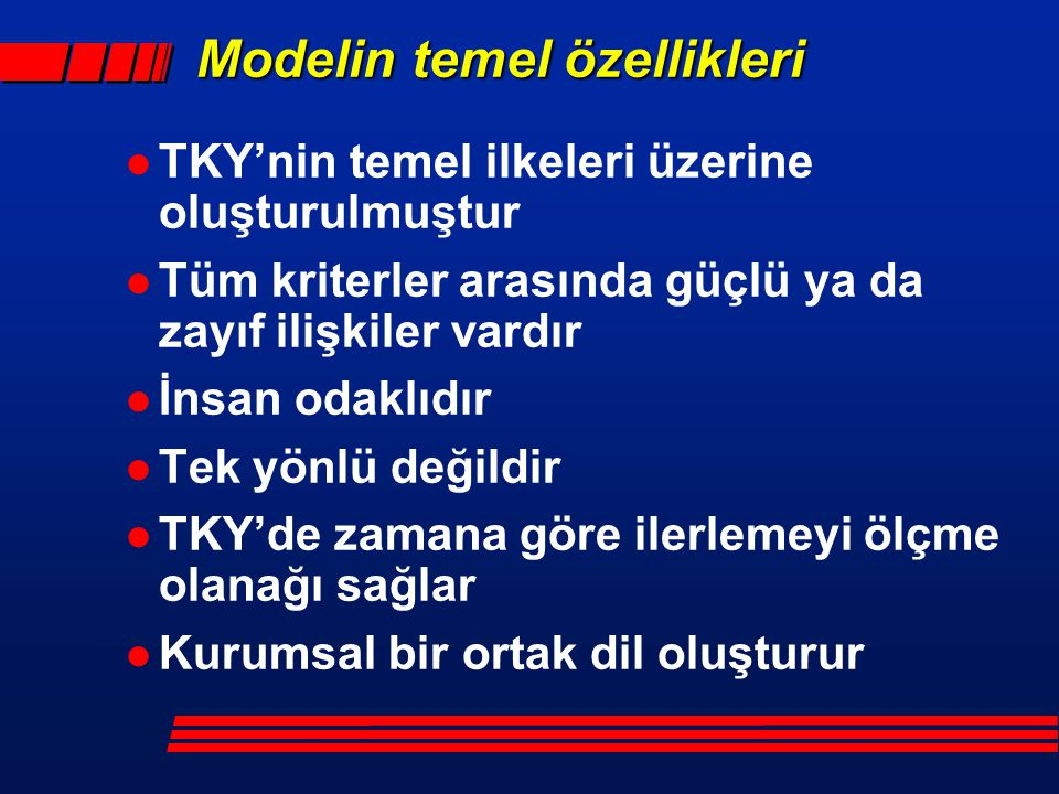 Modelin temel özellikleri