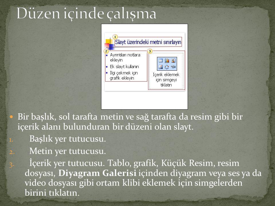 Düzen içinde çalışma Bir başlık, sol tarafta metin ve sağ tarafta da resim gibi bir içerik alanı bulunduran bir düzeni olan slayt.