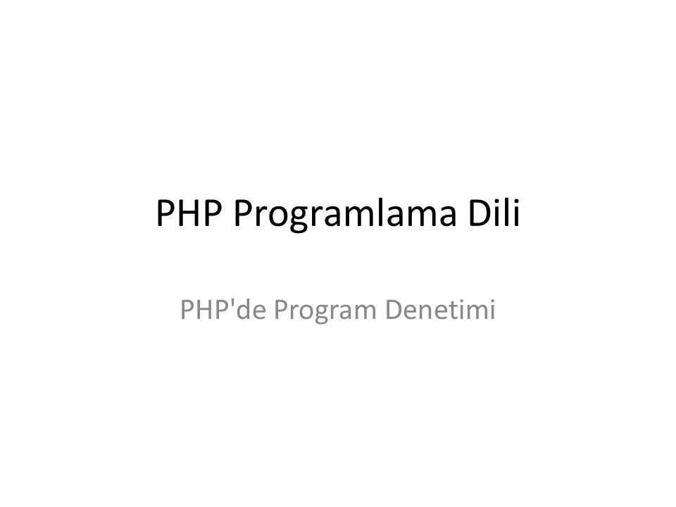 PHP de Program Denetimi