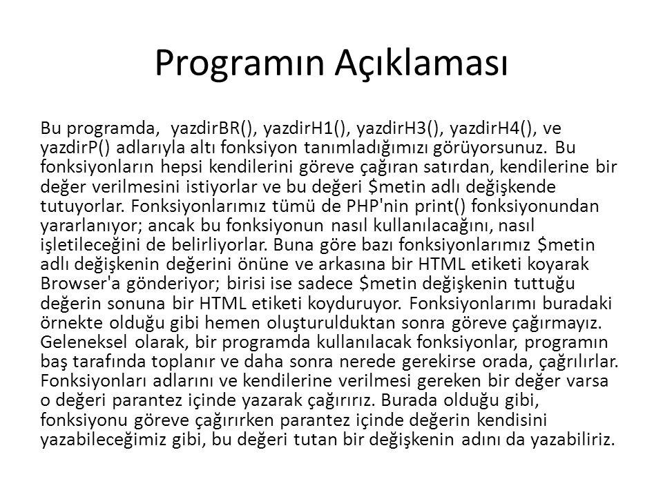 Programın Açıklaması