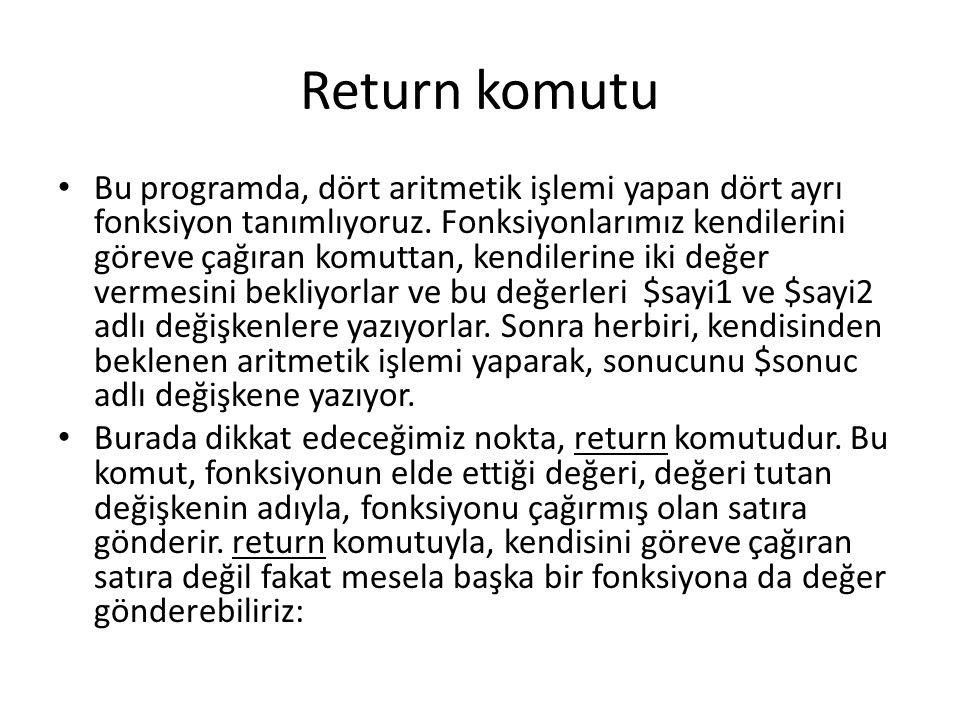 Return komutu